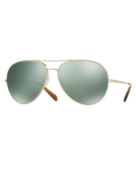 Sayer Mirrored Aviator Sunglasses, Green