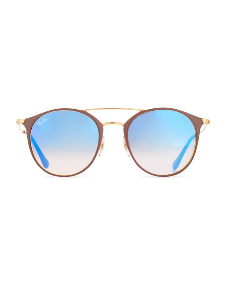 Mirrored Iridescent Round Double-Bridge Flash Sunglasses