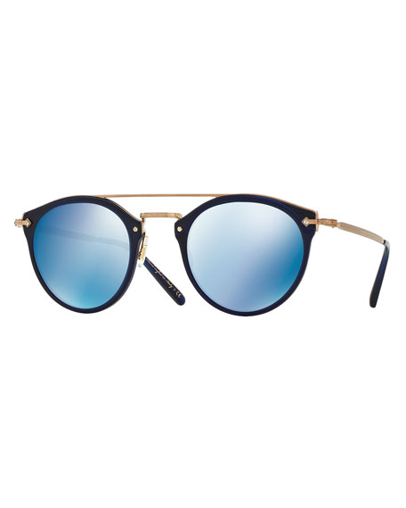 Remick Mirrored Brow-Bar Sunglasses, Blue