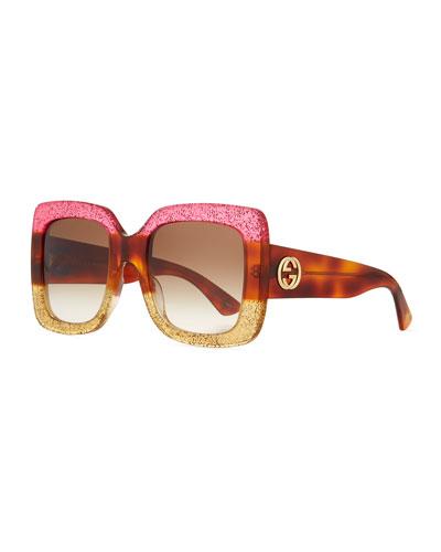Glittered Gradient Oversized Square Sunglasses, Fuchsia/Havana/Gold