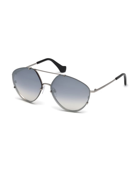 Balenciaga Metal Geometric Aviator Sunglasses, Black