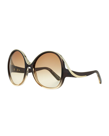 Chloe Mandy Oval Acetate Sunglasses, Gray/Turtledove