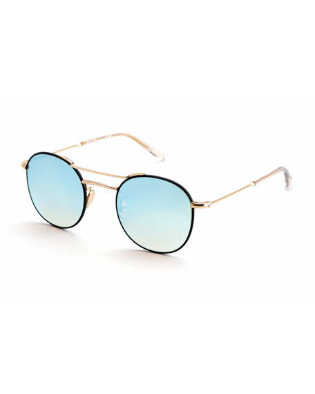 KREWE Orleans Mirrored Metal Universal-Fit Sunglasses, Rose Gold in Pink