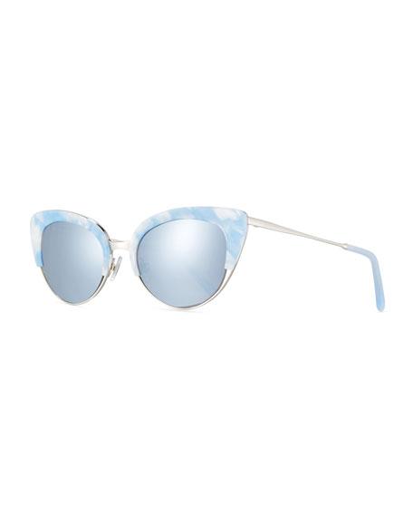 KREWE Josephine Mirrored Cat-Eye Sunglasses, White