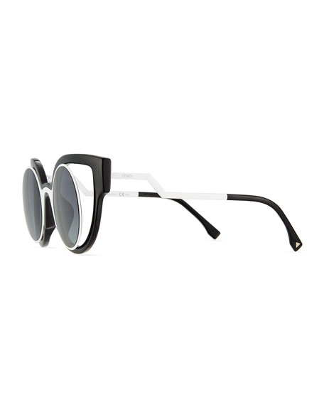 Paradeyes Open-Inset Round Cat-Eye Sunglasses