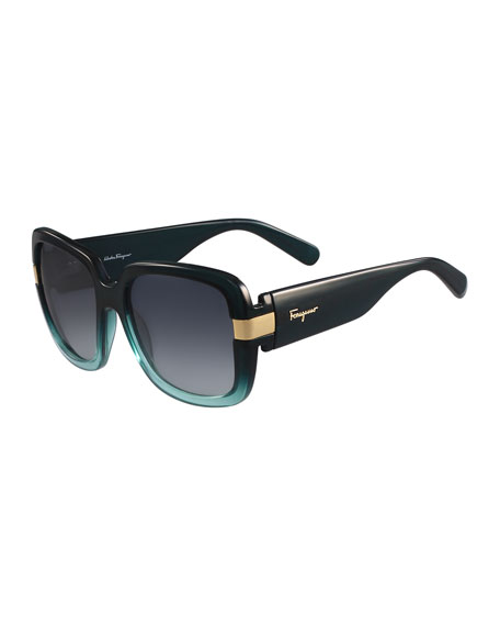 Gancio Two-Tone Square Sunglasses