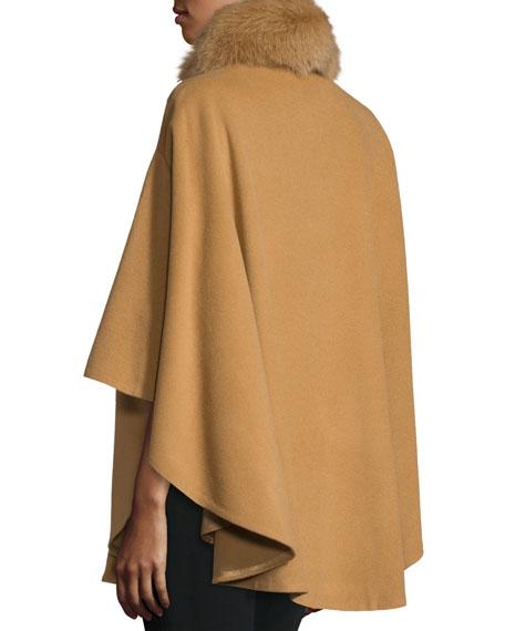 Belle Fare Cashmere Fur-Trim Cape