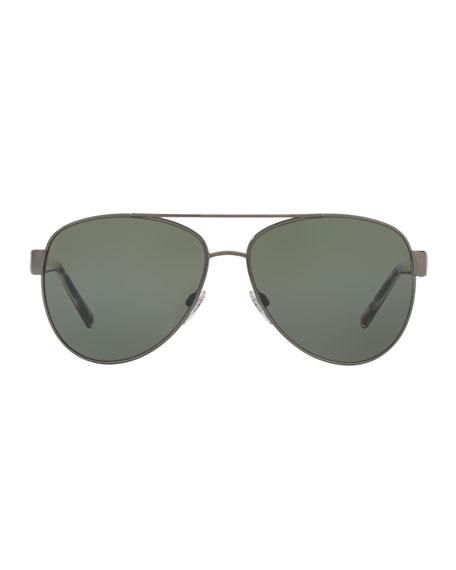 Burberry Metal Check-Trim Aviator Sunglasses