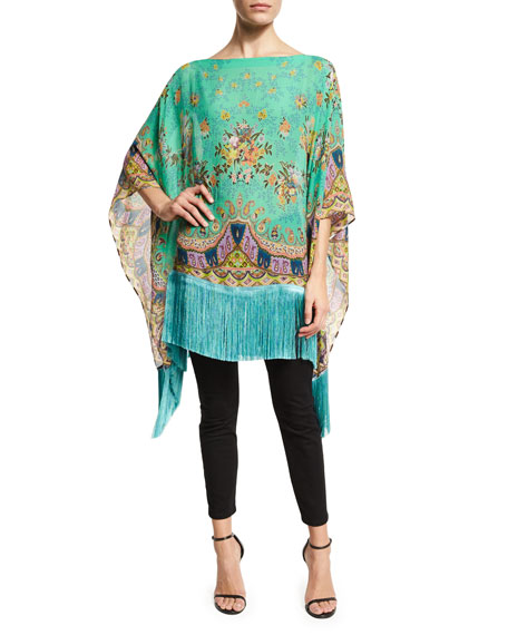 Floral Bouquet Silk Fringe Poncho, Green