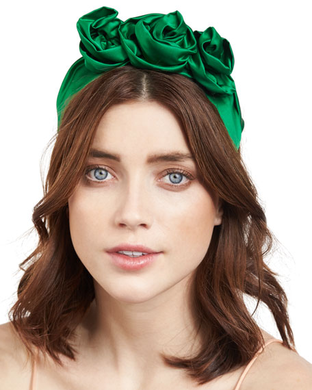 Image 1 of 2: Jennifer Behr Rosette Silk Satin Headband