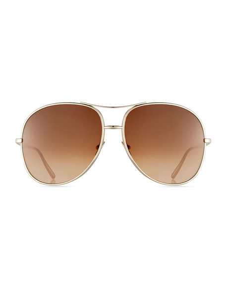oversized aviator sunglasses  Chloe Nola Oversized Square Aviator Sunglasses
