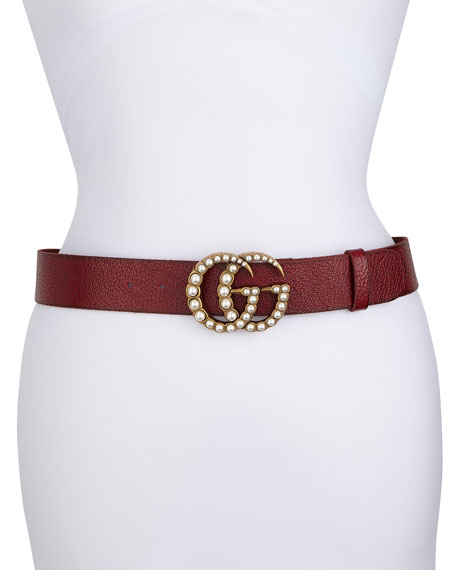 Gucci Pebbled Leather Belt w/ Pearlescent Beads, Black/Cream