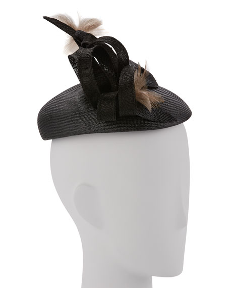 Straw Feather Spray Cocktail Hat