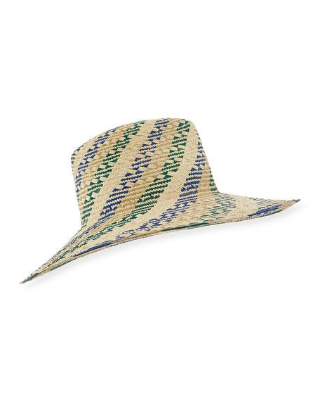 Inverni Florence Striped Straw Fedora Hat, Light Brown
