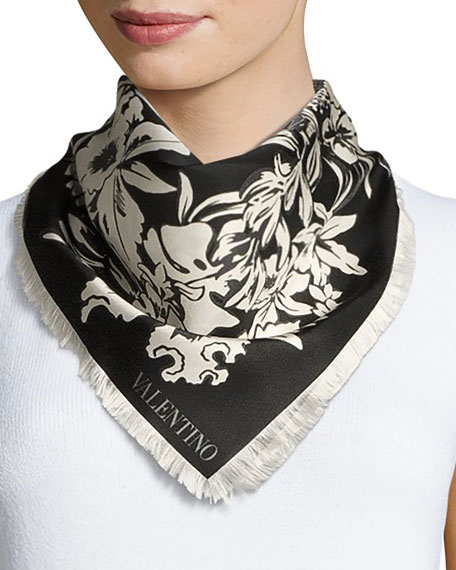 Exotic Garland Silk Evening Scarf, Black