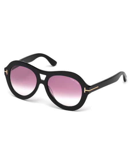 TOM FORD Isla Chunky Aviator Sunglasses, Black