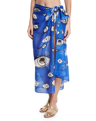 Cotton Voile Eye Scarf, Blue