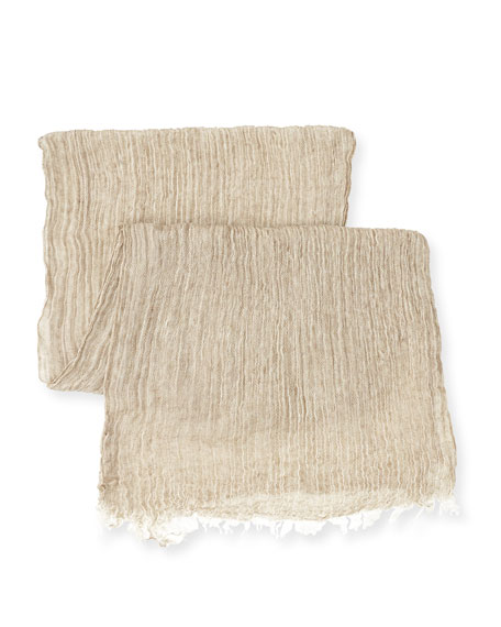 Long Crinkled Organic Linen Scarf, Mocha