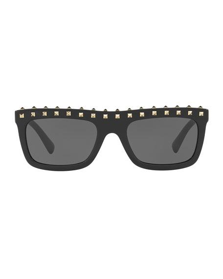 Soul Rockstud Flat-Top Monochromatic Sunglasses