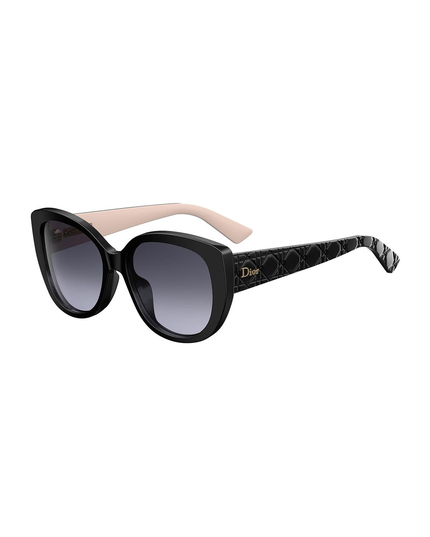 10b4fab376b4 Dior DiorLady1 Oversized Cannage Cat-Eye Sunglasses
