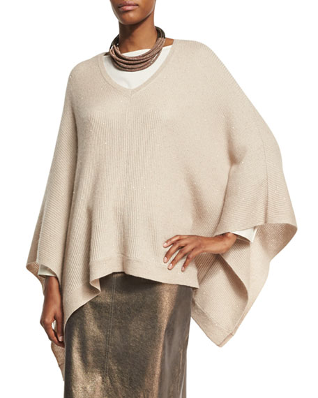 Brunello Cucinelli Paillette V-Neck Poncho, Sand and Matching