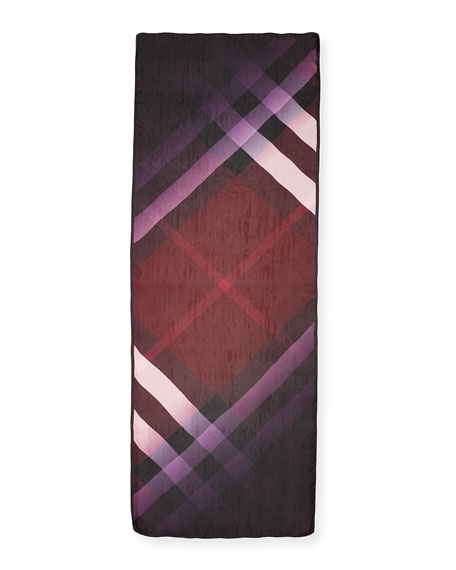 Ombre Washed Check Silk Scarf, Plum