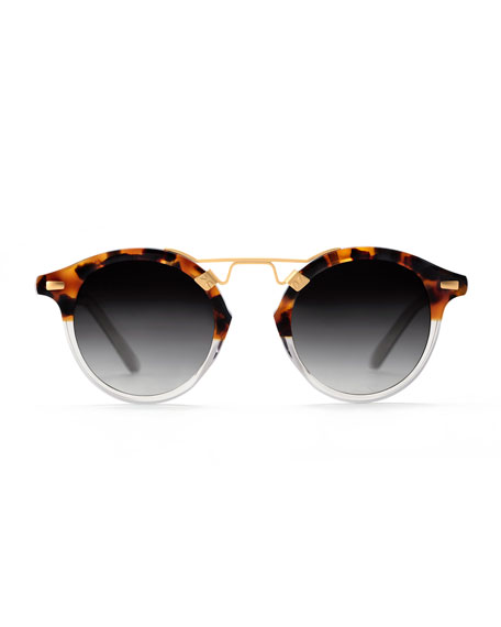 St. Louis Round Two-Tone Sunglasses, Brown Tortoise