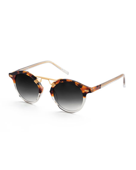 KREWE St. Louis Round Two-Tone Sunglasses, Brown Tortoise