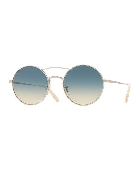 Oliver Peoples Nickol Round Gradient Sunglasses, Beige