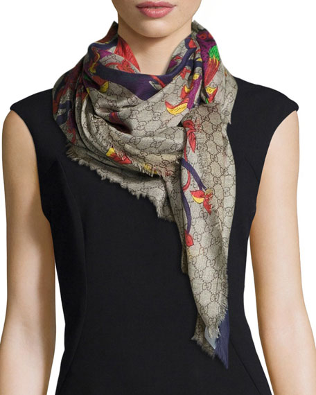 GG Jubilee-Print Shawl, Dark Blue/Light Purple