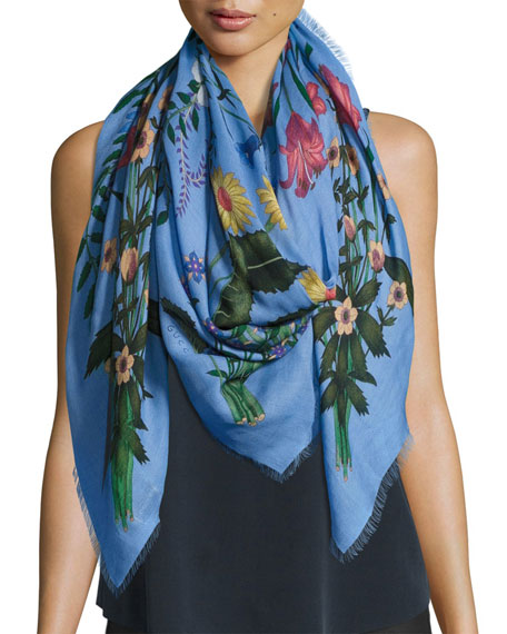 Gucci New Flora Shawl, Blue