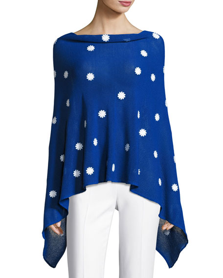 Embroidered Flower Poncho, Plus Size