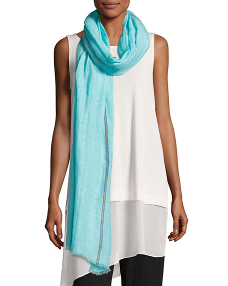 Eileen Fisher Distressed Organic Linen-Blend Striped Scarf,