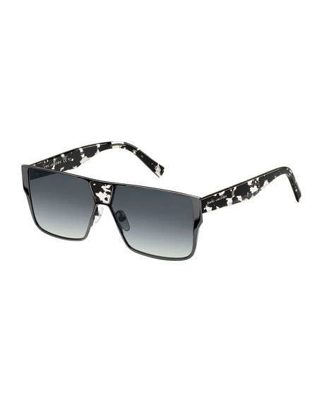 Faceted Flat-Top Oversized Square Sunglasses
