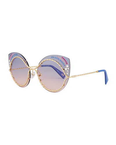 Metal Twist Cat-Eye Rhinestone Sunglasses, Gold/Blue