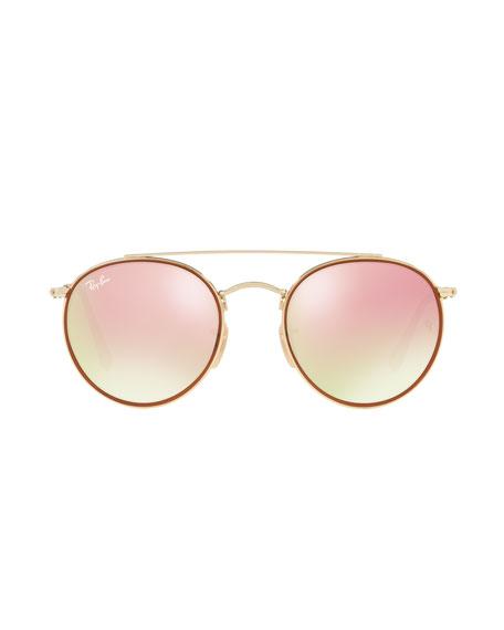 Round Double-Bridge Flash Sunglasses