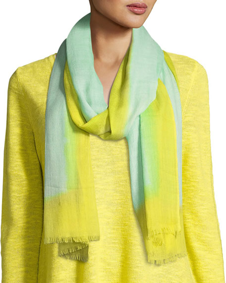 Eileen Fisher Neon Borders Silk Wool Scarf, Pale