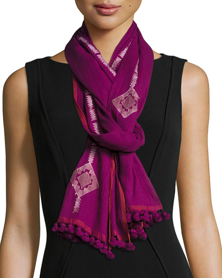 Eileen Fisher Diamond-Print Organic Cotton Jamdani Scarf,