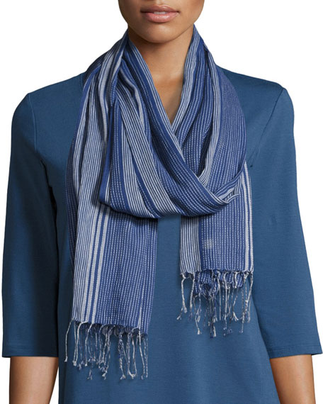 Hand-Loomed Striped Organic Cotton Scarf, Denim