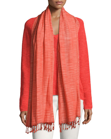 Eileen Fisher Hand-Loomed Organic Cotton Ikat Scarf, Geranium