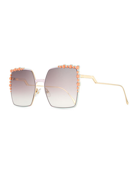 Fendi Can Eye Studded Oversized Square Sunglasses, Pink