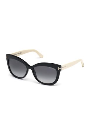 TOM FORD Alistair Two-Tone Squared Cat-Eye Sunglasses, Black/Cream