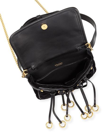 Prada Quilted Velvet Belt Bag & Crossbody Chain