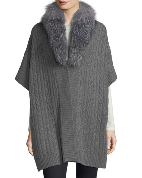 Luxury Cable-Knit Cashmere Cape w/ Fox Fur Collar