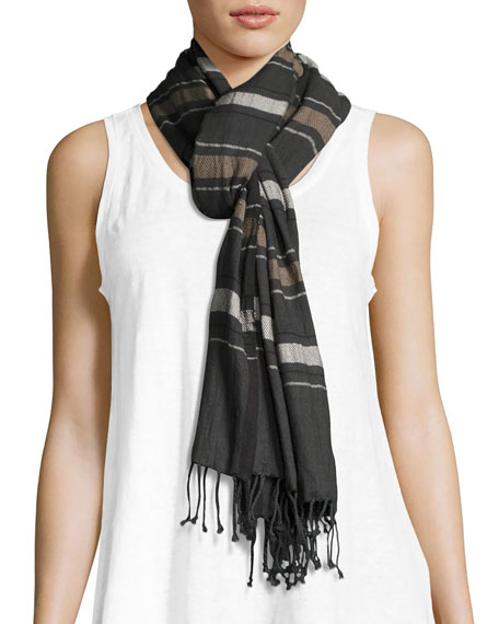 Eileen Fisher Variegated Striped Cotton Scarf