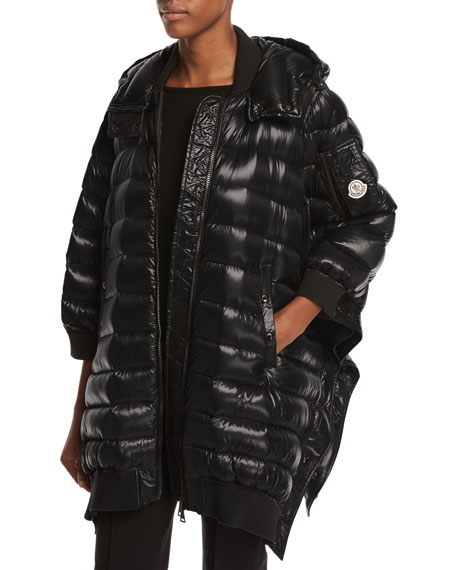 Bamboo Shiny Side-Snap Quilted Puffer Jacket
