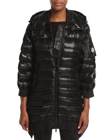Moncler Bamboo Shiny Side-Snap Quilted Puffer Jacket