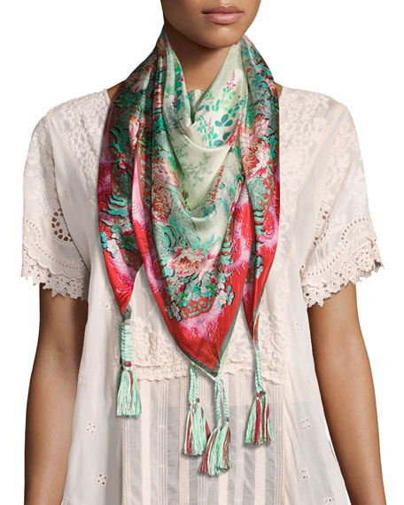 Johnny Was Whisper Printed Silk Tassel Scarf