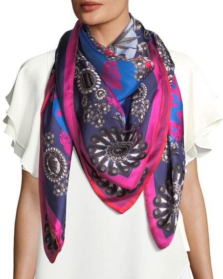 St. Piece Gigi Double-Sided Printed Silk Scarf, Blue/Orange