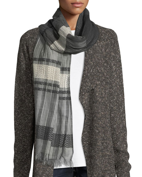 Hand-Loomed Organic Cotton Diamond Striped Scarf